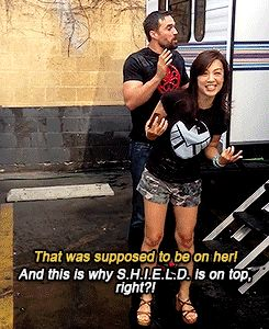 That was supposed to be on her! / And this is why SHIELD is on top, right?! || Ming-Na Wen, Brett Dalton || Ice Bucket Challenge || 245px × 300px || #animated #cast || For options to donate to ALS research, check out my blog post: colleensheadspace...