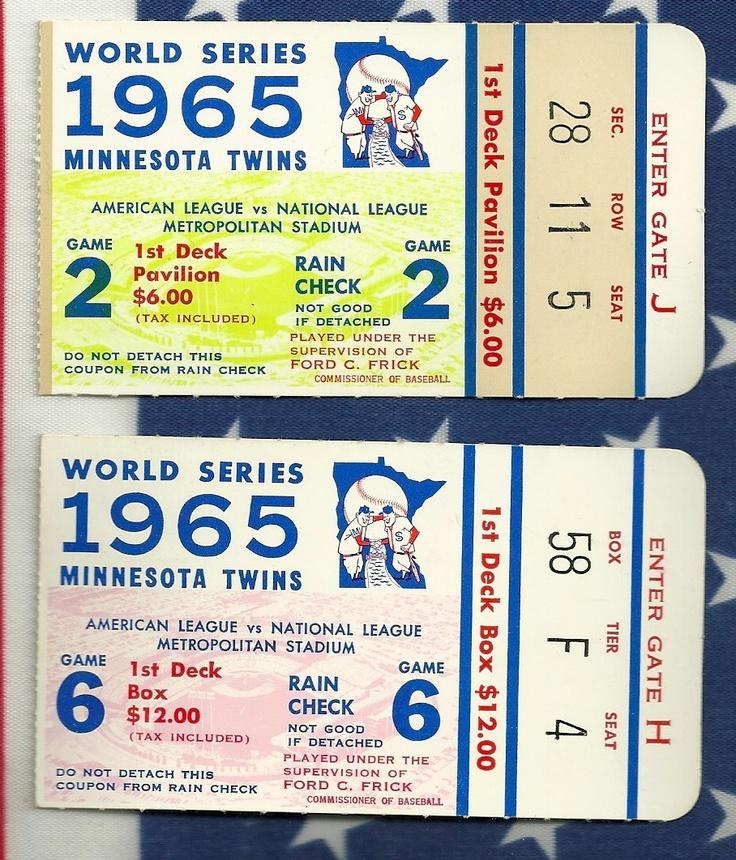 Minnesota Twins baseball 1965 World Series tickets