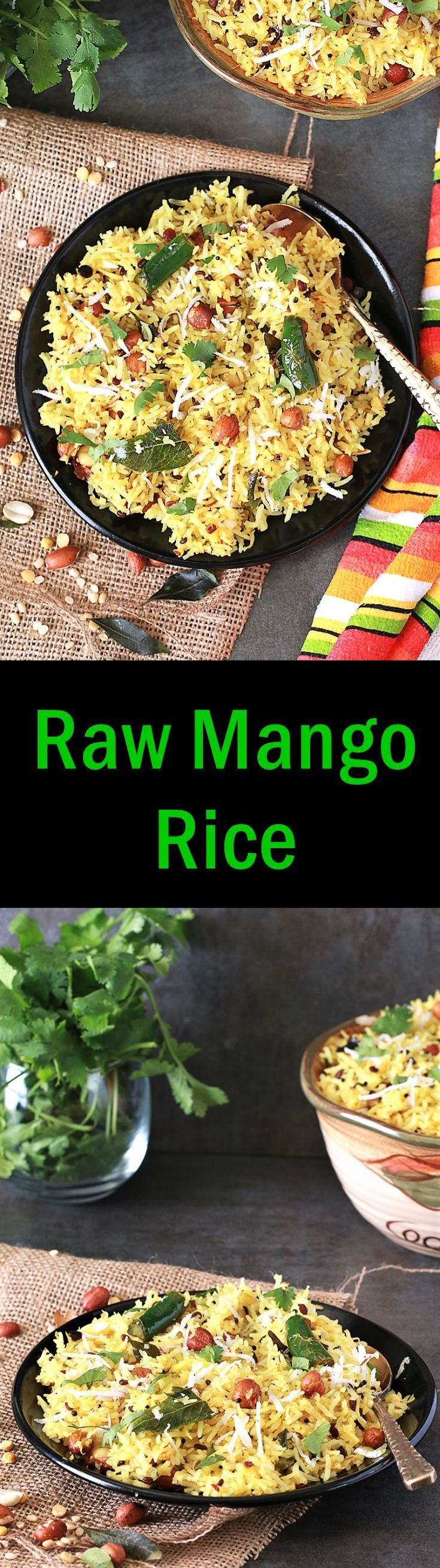 In the summer, Mangoes are widely available in fresh produce section. How can you miss the recipes made from raw mangoes!!??? This year I shared couple of recipes using mangoes. Like Aam ki launji, Raw mango chutney, Mango Mojito and Today i come up with Raw Mango Rice. This rice recipe is from South India. It is popular in Andhra, Karnataka and Tamil Nadu. It is also known as Mavinakayi Chitranna.