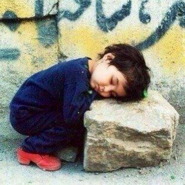 Syrian child. After seeing this child maybe we all wouldn't complaint so much about nothing?