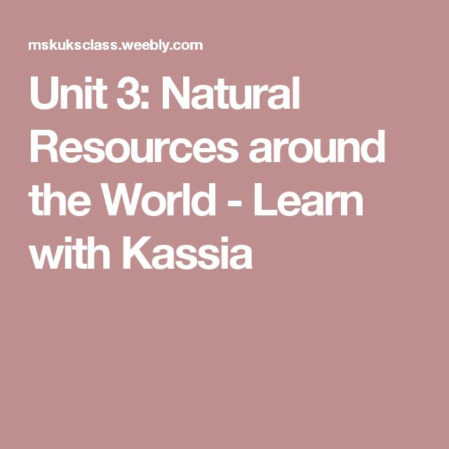 Unit 3: Natural Resources around the World - Learn with Kassia