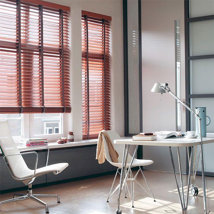 Get inspired by Luxflex window decoration. Cortinas Venecianas de Madera - 50 mm Disponible en @latorredecora  http://latorredecoracion.com/