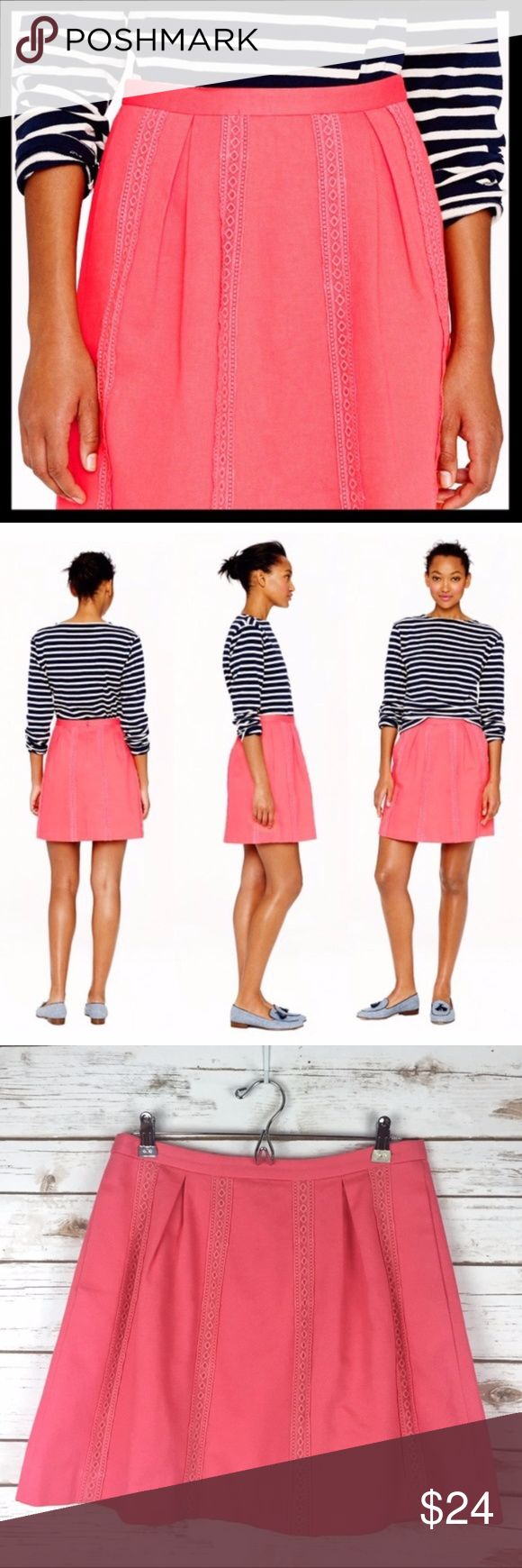 "3 FOR $30 🎉 j. crew // lace stripe coral skirt If you know us, then you know we're suckers for stripes in all shapes and sizes. To mix things up, we added stripes in the form of lace embroidery to this flirty pleated skirt in cotton piqué. Cotton. Back zip. On-seam pockets. Lined. Machine wash. Sits above waist. Great preowned condition. Waist measures 15.5"" across lying flat. 18.5"" long. ⭐️ Reduced from $24. J. Crew Skirts A-Line or Full"