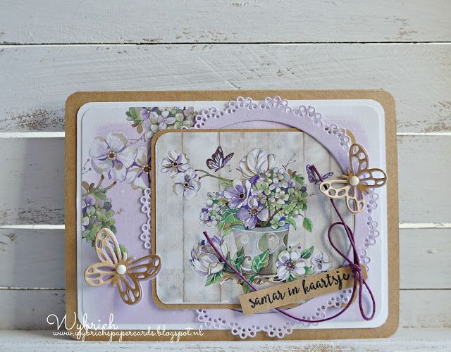 Handmade card by DT member Wybrich with Craftables Basic Round (CR1331) and Creatables Butterfly Border (LR0456) from Marianne Design