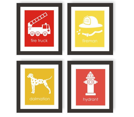 Fireman Nursery Art Prints - Set of 4, Modern Nursery Decor, Fire Fighter Decor, Fire Truck, Fireman Hat, Dalmatian, Fire Hydrant - 8x10