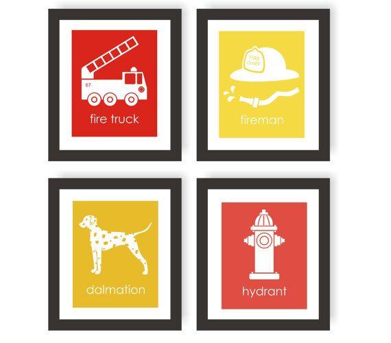 Fireman Nursery Art Prints - Set of 4, Modern Nursery Decor, Fire Fighter Decor, Fire Truck, Fireman Hat, Dalmatian, Fire Hydrant - 8x10
