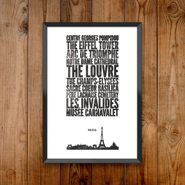 This City Print is part of a homegrown poster series celebrating cities and the places that make them great. Paris City Print includes: Centre Georges Pompidou, Eiffel Tower, Arc de Triomphe, Notre Da