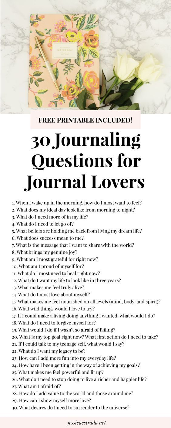 Click through to download your FREE printable filled with 30 journaling  prompts for self-discovery