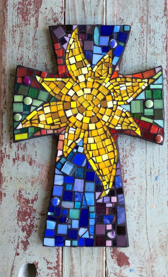 Gran mosaico Cruz con sol-multicolor por DeniseMosaics en Etsy