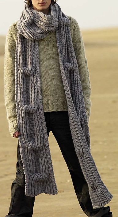 Free Knitting Pattern for Traveller Super Scarf - Designed byMartin Storeyfor Rowan, this pattern includes long and short versions of this scarf with huge chunky cable. Quick knit in super bulky yarn. Available in English, German, Danish and Swedish