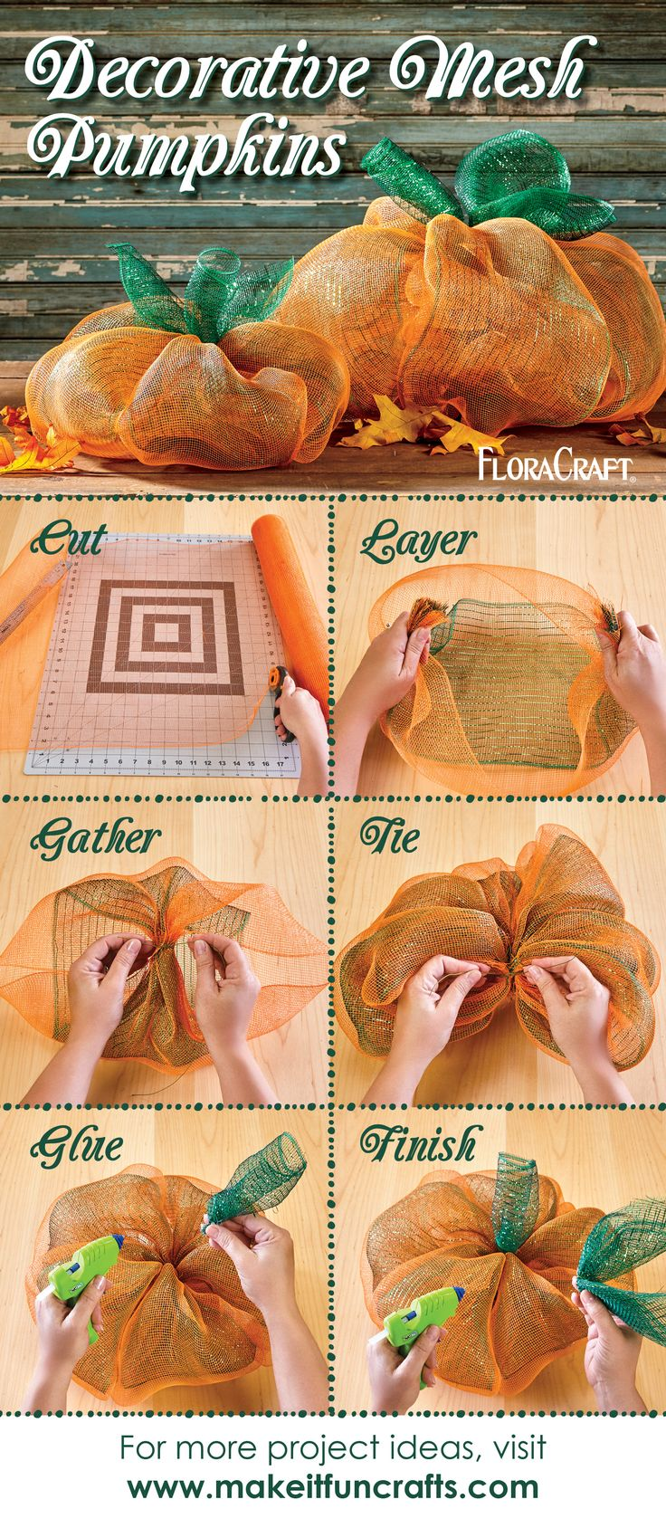 Who says deco mesh is just for wreath making? Get creative and use this versatile product to create fall decor and other crafts, just like these adorable pumpkins!