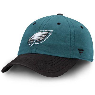 Philadelphia Eagles NFL Pro Line Iconic Fundamental Adjustable Hat - Midnight Green/Black