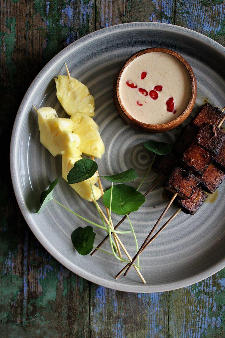 Tofu spyd med ananas og chili