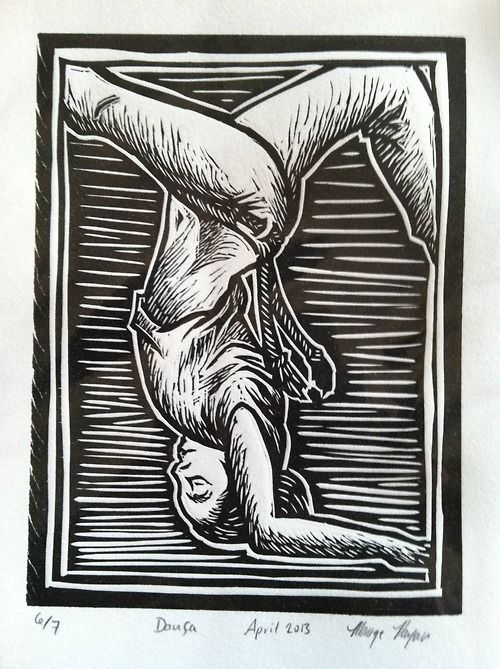 """Dança"" by Monique Payan (Tijolinho) Linoleum (Lino) cut block."