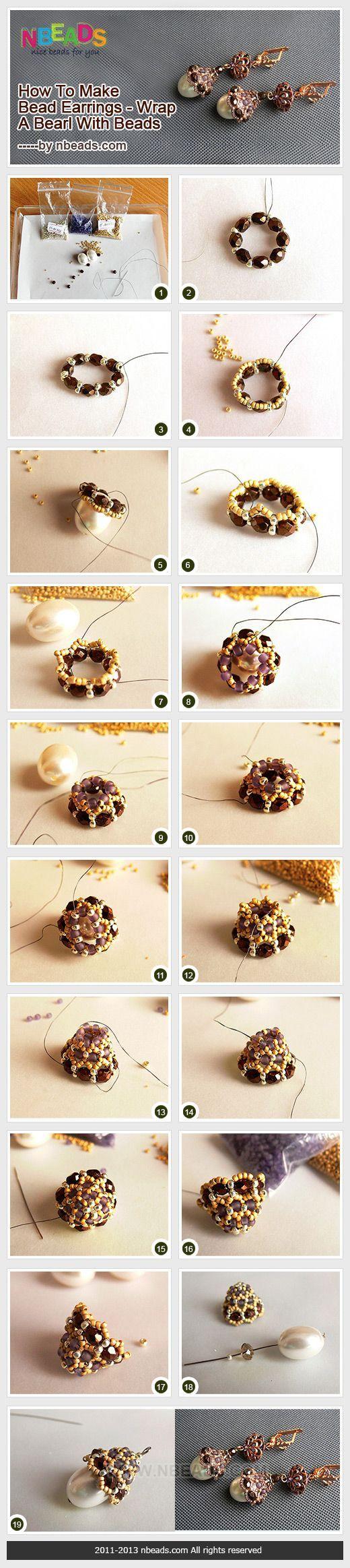 cómo hacer aretes de cuentas - envolver una perla con cuentas