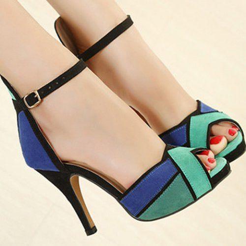 Trendy Color Block and Stiletto Design Women's Suede Sandals