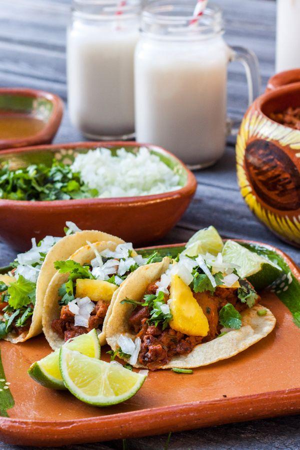 Tacos al Pastor con Carne de Soya *** Al Pastor Tacos with Soy Protein