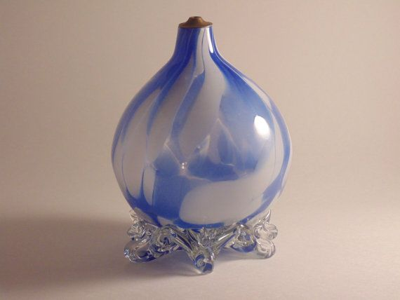 Hand Blown Glass Oil Lamp  Unique by CountryGardensShoppe on Etsy