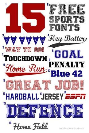 FREE SPORTS FONTS. Here are my favorite free sports fonts for party decor, invitations, posters, cards, or whatever else you can think of.