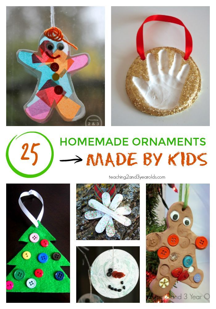 25 ornaments made by kids that are easy and fun! These will look nice on the Christmas tree and will become keepsake ornaments that will be cherished for many years. From Teaching 2 and 3 Year Olds