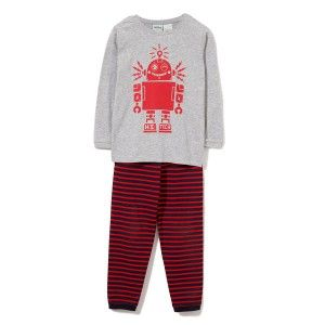 Milky Boys Robot Pj'S Denim Marle/Red Stripe