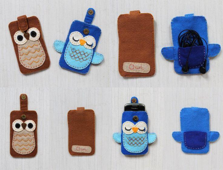 Owl felt pouch for iPhone -nov 14- http://miki-craft.blogspot.com/