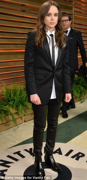 Suiting up: Ellen Page (left) chose a tuxedo outfitted with a skinny tie and sleek Chelsea boots while novelist Jackie Collins (right) befit...