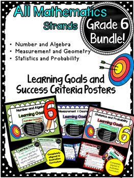 This+packet+has+all+the+posters+you+will+need+to+display+the+learning+goals+for:Grade+6+Australian+Curriculum+Maths-+Number+and+Algebra-+Measurement+and+Geometry-+Statistics+and+Probability.+All+content+descriptors+have+been+reworded+into+smart+goals+with+an+accompanying+poster+showing+the+success+criteria+needed+to+achieve+these+goals.