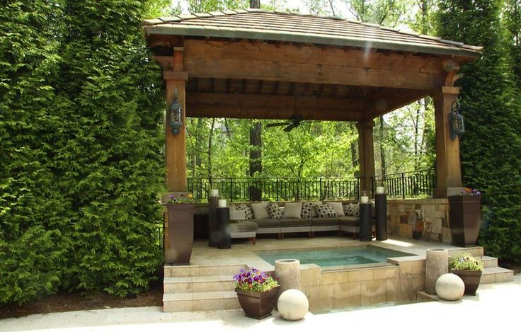 "Craftsman Hot Tub with Tom's Custom Pool/Patio Concrete, Crate and Barrel Bronze 26.5"" Tall Tapered Planter, Gazebo, Fence"