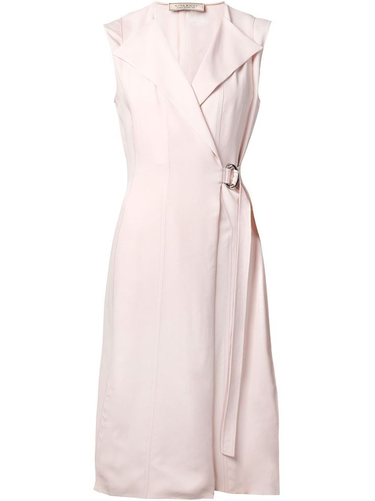 Nina Ricci Cocktail Belted Wrap Pink Dress