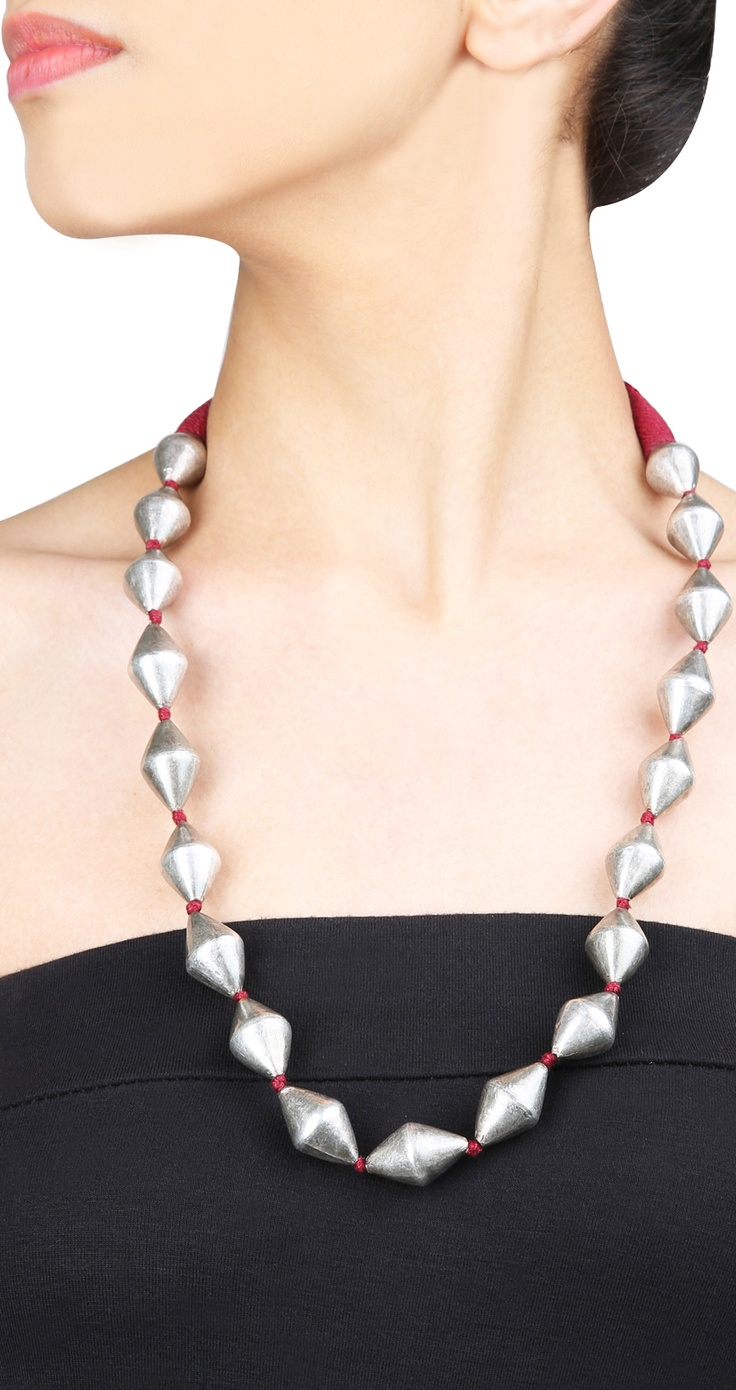 Silver dholki beads necklace in maroon thread by AMRAPALI. Shop at https://www.perniaspopupshop.com/whats-new/amrapali-2