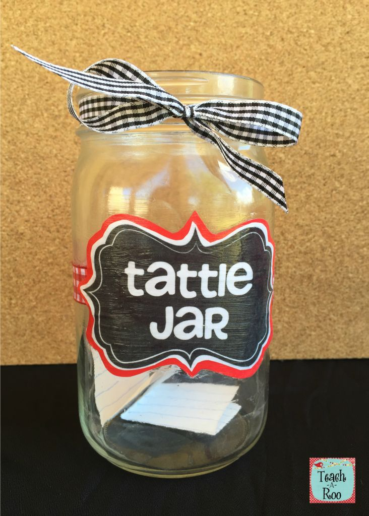 Check out these ideas for dealing with tattling in the classroom. Free printable tattle jar label, too!