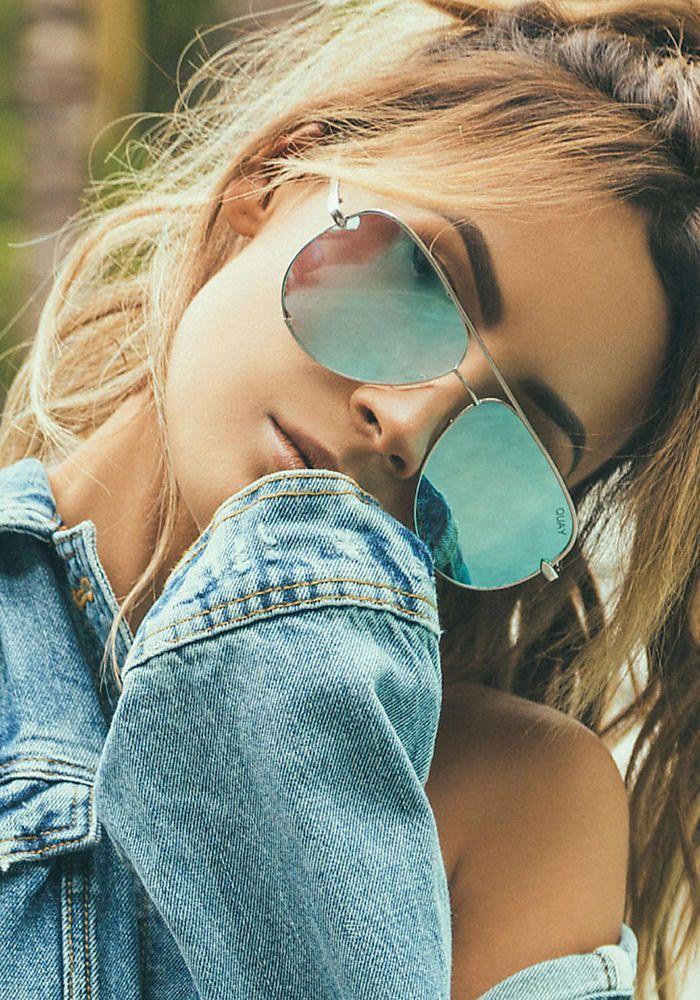 Quay X Desi Perkins High Key Sunglasses in Blue - Sunglasses - Accessories