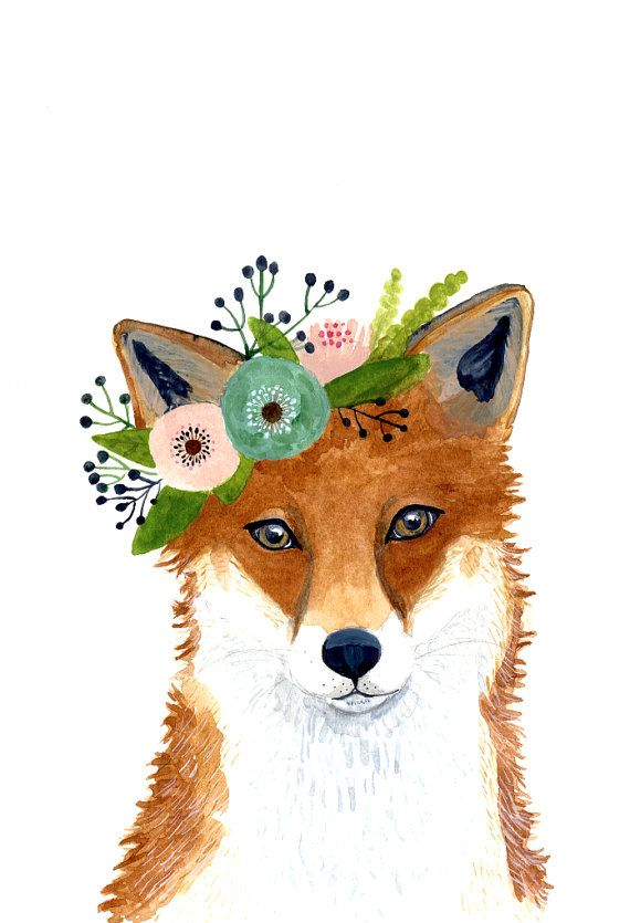 Watercolor fox Woodland Nursery Art Animal Paintings door zuhalkanar