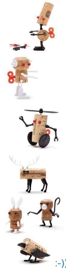 DIY cork robots and animals are great options for minimally designed child rooms…
