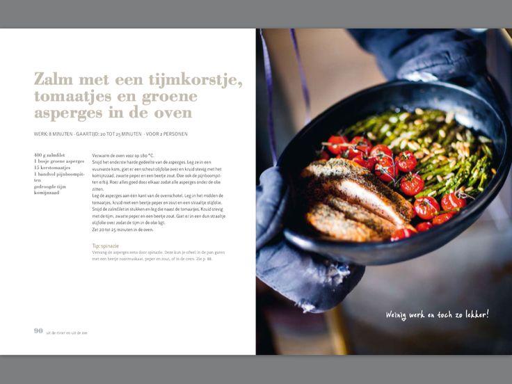 Zalm met tijmkorstje, tomaatjes en groene asperges in de oven. Recept Pascale Naessens