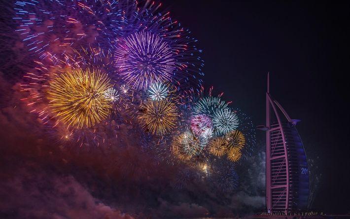 Télécharger fonds d'écran Hôtel Burj Al Arab, Dubaï, ville de nuit, feux d'artifice, des vacances, des ÉMIRATS arabes unis