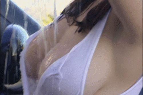 #wet #tshirt #sexy #big #boobs #busty #babe #foam #car #wash #sensual #hot #see #through #bouncy #white #tshirt
