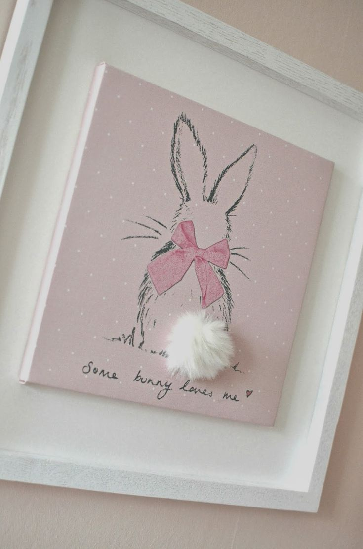 Nursery art: Bunny with that tail! So cute.