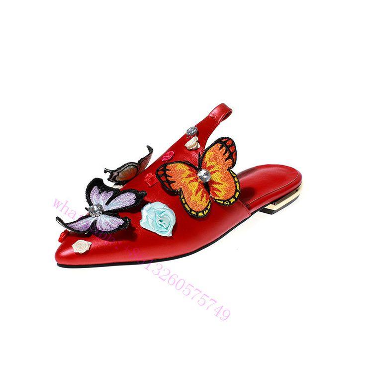 2017 de Lujo de Diseño de Primavera Otoño rojo zapatillas Zapatos sandalias de Las Mujeres con la flor de mariposa tobillos trampa ata para arriba para la muchacha dulce