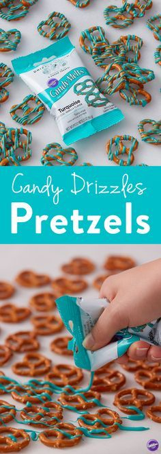 Candy Drizzles Pretzels - This quick handmade treat is easy and fun to do to with the whole family. Great for snacking or serving at a baby shower or birthday party, these candy drizzled pretzels are sure to be a crowd pleaser. Mix and match colors to suit your occasion by shopping the whole collection of Candy Melts Candy Drizzle Pouches.