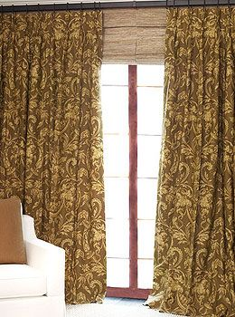 Custom Linen Drapery In Venice Brown, Parisian Pleat, From DrapeStyle