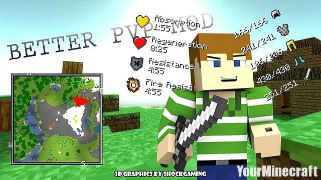 Better PvP Mod for Minecraft 1.11.0/1.9, run with one click, stay in crouch mode, and have a quick eat! Plus more! Direct link download Better PvP Mod for Minecraft