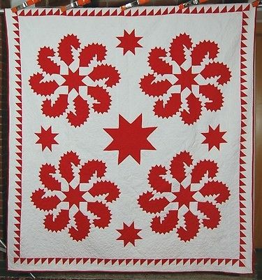OUTSTANDING 1880's Red & White Princess Feather Stars Antique Quilt ~SAWTOOTH!, eBay, french72