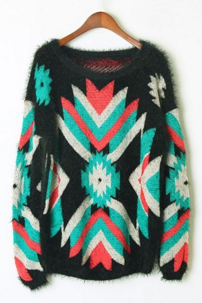 Geometrical Graphic Sweater OASAP.com -UP TO 80% OFF #cybermonday