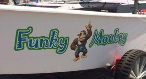 OptiWraps Optimist Sailing Dinghy Graphics Name - Funky Monkey