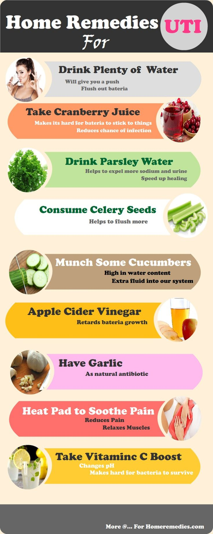 How to get rid of uti : Natural home remedies for uti. Drink Water, celery, parsley, cucumber, cranberry juice, Lemon juice, Apple cider vinegar, Garlic and heat pad for urinary tract infection