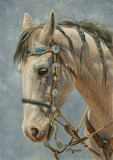 Dress Up Day - horse painting by Ann Hanson Oil ~ 7 x 5