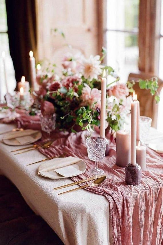 Dusty Rose Cheese Cloth Runner Rustic Gauze Runner Etsy In 2020 Wedding Table Pink Dusty Rose Wedding Colors Dusty Rose Wedding