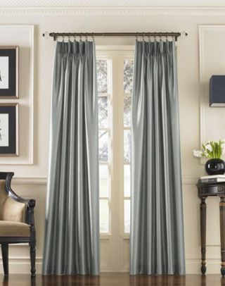 "Marquee Faux Silk Pinch Pleat Drapery / Curtainworks.com (pewter, teal, chocolate...???)  120"" and 84"" ...super cheap!"